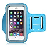 "MoKo Armband for iPhone 6s Plus / 6 Plus, Sweatproof Sports Armband Running Arm Band for iPhone 6S Plus, 6 Plus, Samsung S8 Plus, S7 Edge, Note 4 / 5, J7, Light Blue (Fits Arm Girth 10.8""-16.5"")"