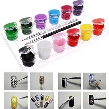 Amazon 3d 12 Colors Acrylic Nail Art Paint Set With Nail Art