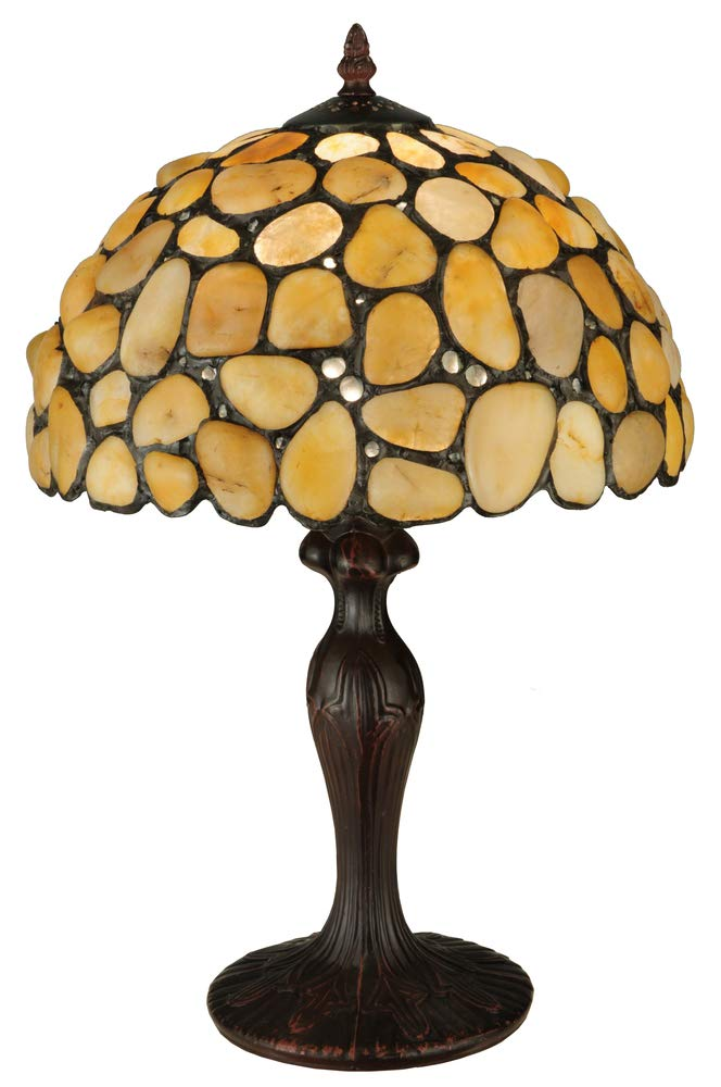 Meyda Tiffany 138123 1 Light 19.5'' Tall Hand-Crafted Table Lamp with Stained Gla, Mahogany Bronze