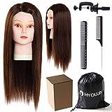 HYOUJIN 21-22' 75% Human Hair Julia Mannequin head Training Head Cosmetology Mannequin Head Manikin Doll Head with free Clamp
