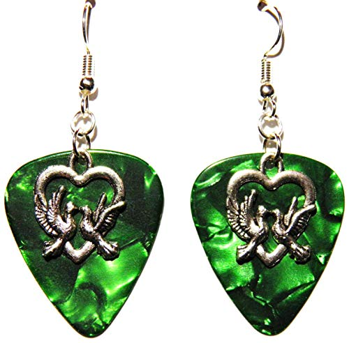 on Guitar Pick Earrings (Green Guitar Pick) ()