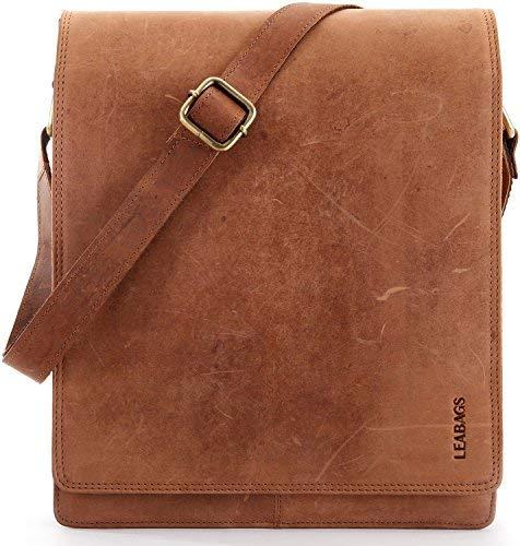 Leabags London Vintage Sac à bandoulière en cuir véritable Buffalo - Brun lisse lisse