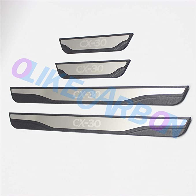 Bishop Tate for Mazda CX-30 CX30 2019 2020 Car Stianless Steel Exterior Door Sill Scuff Plate Threshold Cover Trim Accessories 4pcs Inner Black