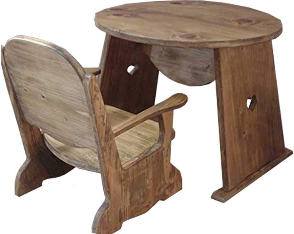 チャイルドチェア 丸テーブル セット アンティークブラウン ハート キッズテーブル キッズチェア 木製 ひのき 受注製作