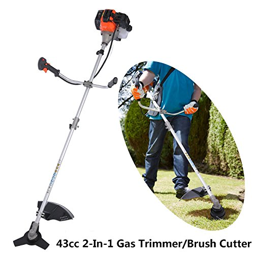 Korie 43cc 2-Stroke Gas Powered String Trimmer 17-Inch, 2-In-1 Adjustable Straight Shaft Gas Trimmer/Brush Cutter Brushcutter Combo by Korie