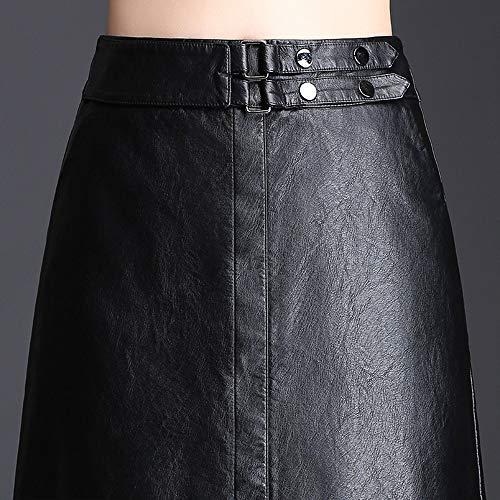 Pu Palabra De Ropa Y Split Primavera Mujer black Una La Media Slim Longitud Falda Atractiva Cintura Alta Cuero Xsqr Otoño xxl wvSIaAWIq