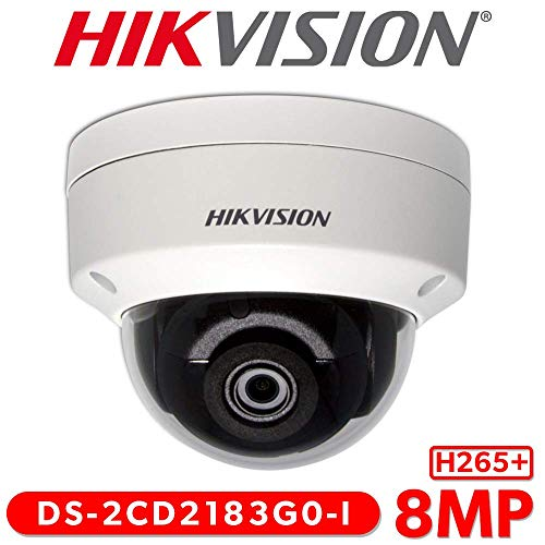 Hikvision 8MP H265+ 4K HD DS-2CD2183G0-I PoE IP Network Dome Security Camera with EXIR 98ft Night Vision, Smart H.265+ WDR, SD Card Slot, ONVIF, IP67 [English Version] (2.8mm Lens)