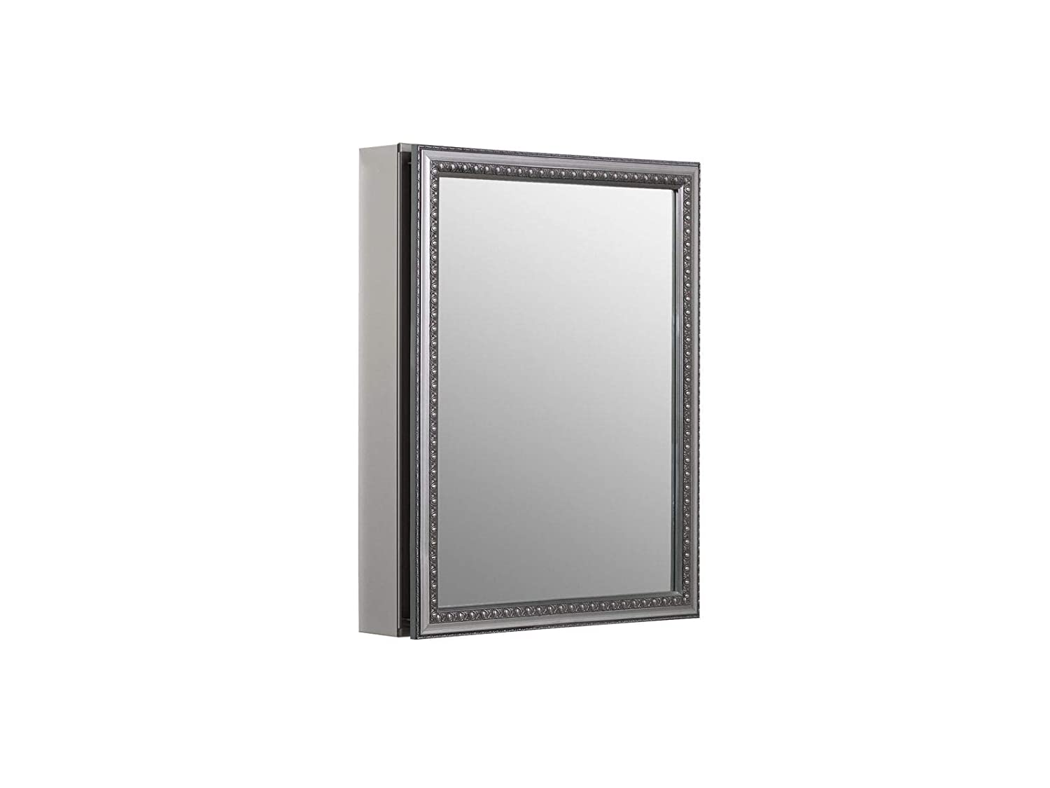 KOHLER K-CB-CLW2026SS 20 inch x 26 inch Aluminum Bathroom Medicine Cabinet with Decorative Silver Framed Mirror Door Recess or Surface Mount