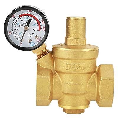 DN25 Brass Relief Valve Adjustable Water Pressure Reducing Regulator Reducer+Gauge Meter from Hilitand