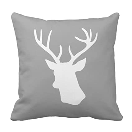 Amazoncom Emvency Throw Pillow Cover White Deer Head Silhouette