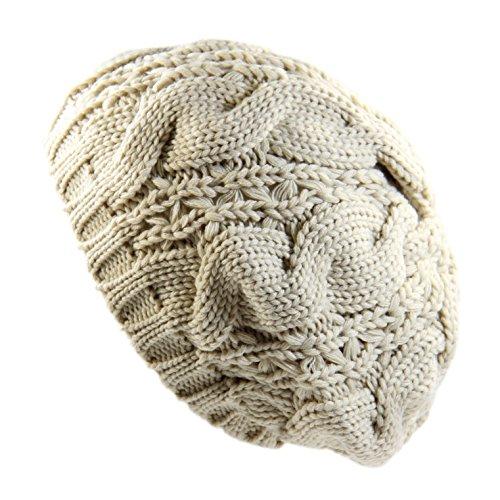 Ladies Cable Knit Beret (Beige) (Rasta Beret)