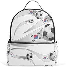 Top Carpenter South Korea Flag Soccer Ball School Backpack Daypack Shoulder Bag 12.6x5x14.8in