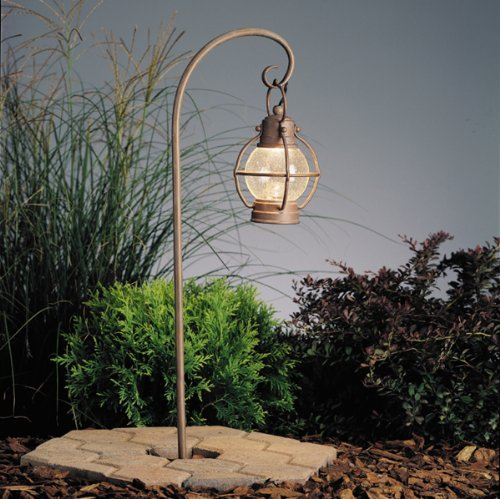15334OB Concord Lantern 1LT Incandescent/LED Hybrid Low Voltage Landscape Path and Spread Light, Olde Brick Finish and Seedy Glass by Kichler