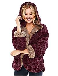 Summerwhisper Women's Double-sided Fleece Lamb Wool Coat With Hoodie