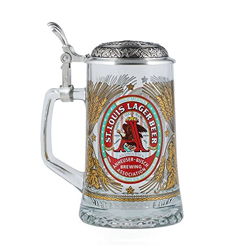 Anheuser-Busch Collector's Glass Stein with Pewter Lid - Limited Edition - .4 Liter ()