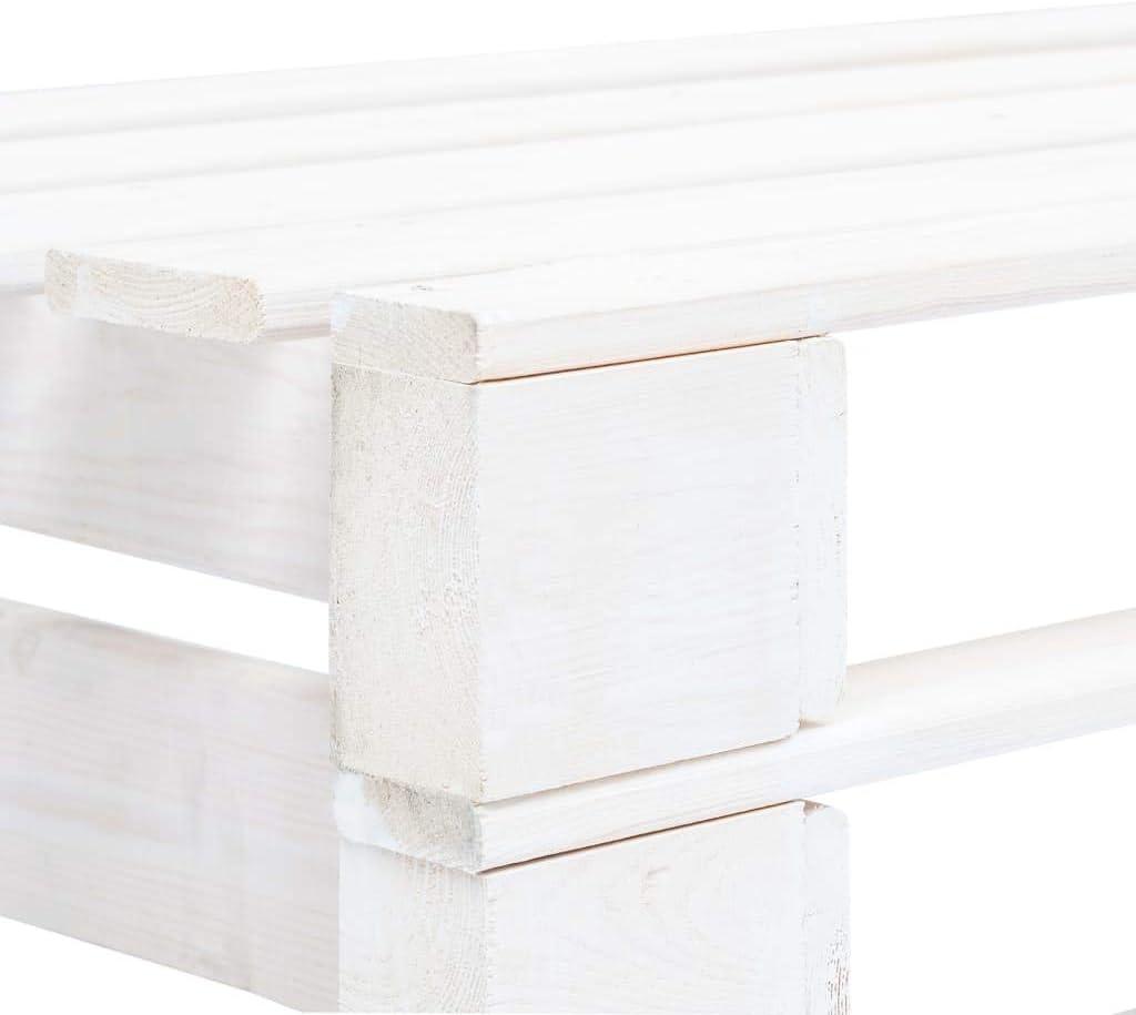 Tidyard Panca da Giardino con Pallet in Legno FSC Bianco