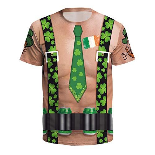 Fairy Baby Adult Unisex Irish Clover Shamrock St. Patrick's Day Short Sleeve Shirt T-Shirt Size 3XL (Brownish Green) -