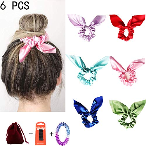 Silk Bowknot Hair Scrunchies,Solid color Traceless Hair Ties,Ear Bow Bowknot Scrunchie,Vintage Hair Bands Ties for Women Girls,Elastic Hair Bobbles for Ponytail Holder (Bow Headband-6 Colors-A)