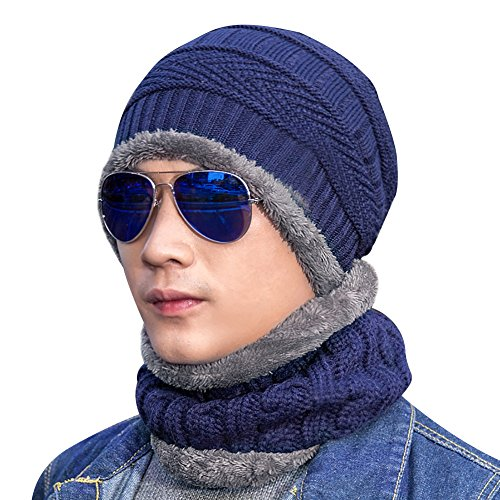 Loritta Men Beanie Hat Scarf Set Winter Emotional Knit Hat and Infinity Scarf Gift Set