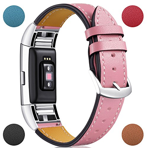 For Fitbit Charge 2 Replacement Bands, Dizywiee Classic Genuine Leather Wristband With Metal Connectors, Fitness Strap for Charge 2