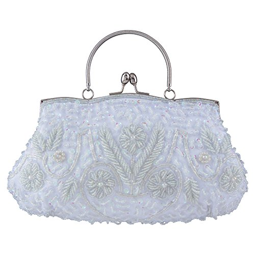 Bagood Women's Vintage Style Beaded Sequined Evening Bag Wedding Party Handbag Clutch Purs -