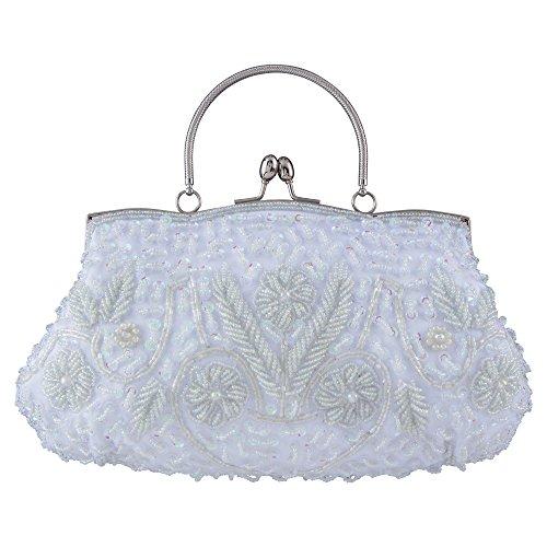 Bagood Women's Vintage Style Beaded Sequined Evening Bag Wedding Party Handbag Clutch - Handbag White Beaded