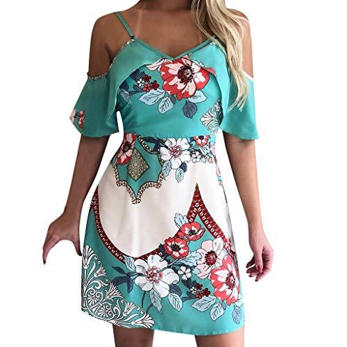〓COOlCCI〓Womens Dresses Summer Casual V-Neck Floral Print Geometric Tie Front Spaghetti Strap Midi Dress Cover Ups