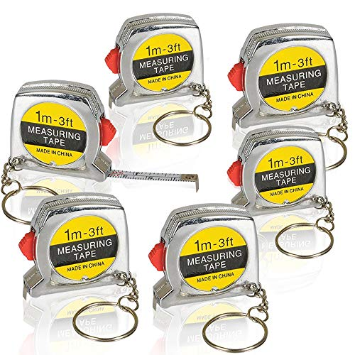 ArtCreativity 1.5 Inch Tape Measure Keychains for Kids and Adults - Set of 6 - Functional Mini Tape Measures with Stable Slide Lock - Birthday Party Favors, Goody Bag Fillers, - Measure Tape Keychain