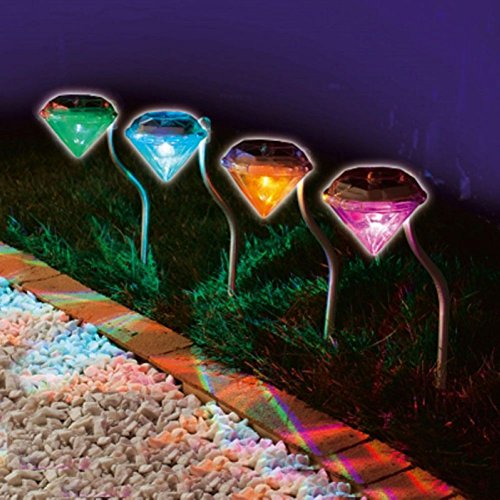 HMMS 4pc Led Diamond Solar Power Light, Wireless Outdoor Garden Grasses Modern Stylish Stainless Steel, Decorate Your Lawn Now (Mower Deck Scraper)
