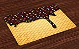 Ambesonne Ice Cream Place Mats Set of 4, Waffle Chocolate Flavor Dessert Delicious Yummy Backdrop Stylish Graphic, Washable Fabric Placemats for Dining Room Kitchen Table Decor, Dark Brown Mustard