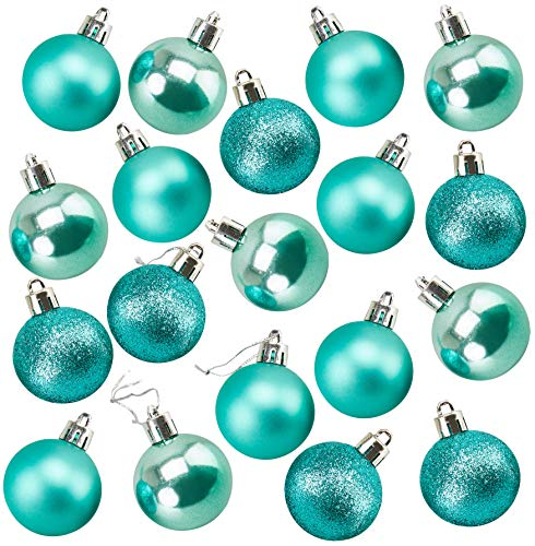 Juvale 48-Pack Mini Christmas Tree Ornaments - Teal Shatterproof Small Christmas Balls Decoration, Assorted 3-Finish Pearly Luster, Matte, Glitter, Hanging Plastic Bauble Holiday Decor, 1.5 Inches