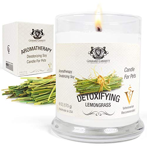 Aromatherapy Deodorizing Soy Candle for Pets, Candles Scented, Pet Odor Eliminator & Animal Lover Gift (Detoxifying Lemongrass)
