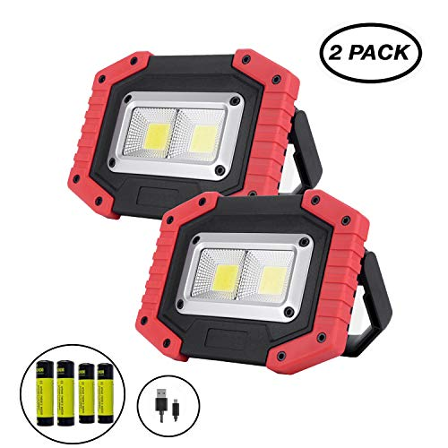 Aoteng Star COB LED Work Light 30W 1500LM Outdoor Waterproof USB Rechargeable Power Bank Floodlight for Camping,Hiking, Car Repairing, Workshop, Job Site,SOS Emergency-2 Pack(Red)