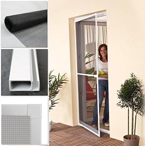 Puerta de tela metálica 100 x 210 cm en colour blanco con sistema de marco de aluminio de protección contra los insectos para puertas: Amazon.es: Bricolaje y herramientas