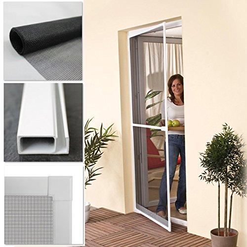 Insektenschutz Tür 100 x 210 cm Fliegengitter-Tür mit Alu Rahmen in weiß + Fiberglasgewebe in anthrazit Mückennetz Mückenschutz