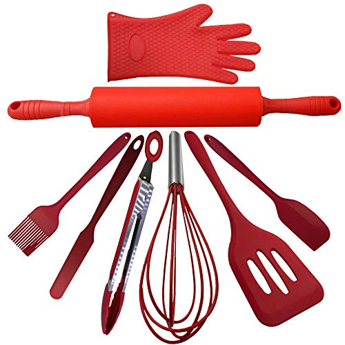 Max Designs 8 Piece Kitchen Utensil Set Red   Kitchen Essentials   Perfect for Kitchen Update Fda Approved Silicone   Dishwasher Safe  Cooking Grilling Baking Kit   Built to Last
