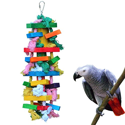 (KINTOR Bird Chewing Toy Large Medium Parrot Cage Bite Toys African Grey Macaws Cockatoos Eclectus Amazon (Knot Block-17.5inch))