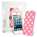 Celicious Pink / White Polka Dots TPU Gel Case Cover for Apple iPhone 5s / iPhone 5