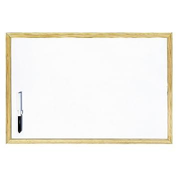 Makro Paper PM602 - Pizarra con marco de madera, 60 x 40 cm, blanco