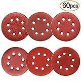 60Pcs Sanding Discs Sandpaper 5 Inch 8 Holes, 1000/800/600/400/320/240 Grit for Random Orbital Sander by FRIMOONY