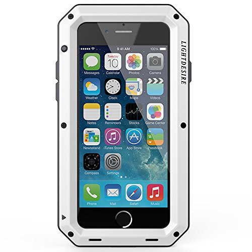 iPhone 7 8 Case 4.7 Inch LIGHTDESIRE Aluminum Protective Resistant Water Metal Extreme Shockproof Military Bumper Heavy Duty Cover Shell - White