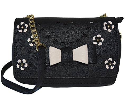 Betsey Johnson Flower Bow XBody Crossbody Bag Handbag Purse Black