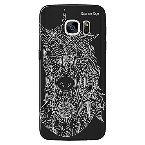 Capa Grafite Personalizada Samsung Galaxy S7 Edge G935 - Unicórnio - GF05