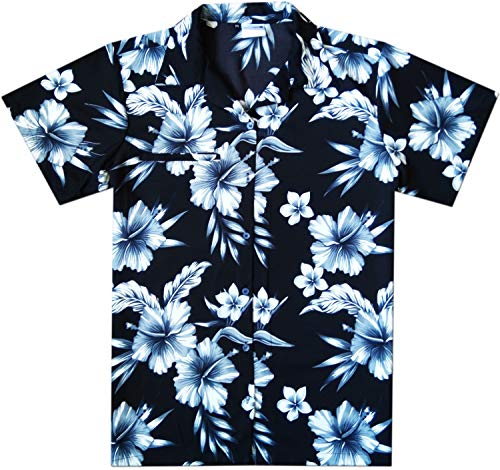 Shirt Aloha Hibiscus Mens - Virgin Crafts Hawaiian Shirt for Men Summer Beach Aloha Hibiscus Mono Black 3XL