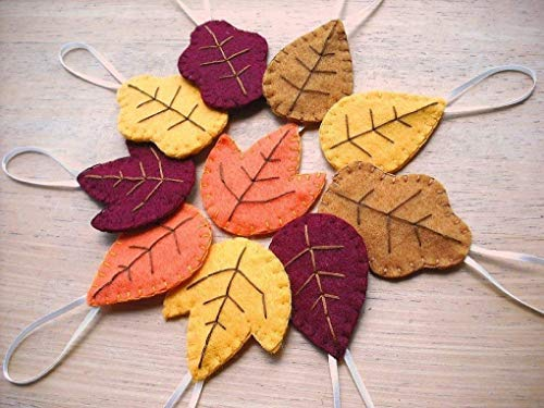 - Set of 10 felt autumn leaf ornaments, fall decorations, oak, maple and aspen leaves,