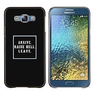 Negro Levante Lección infierno impresiones Vida Inspiring- Metal de aluminio y de plástico duro Caja del teléfono - Negro - Samsung Galaxy E7 / SM-E700