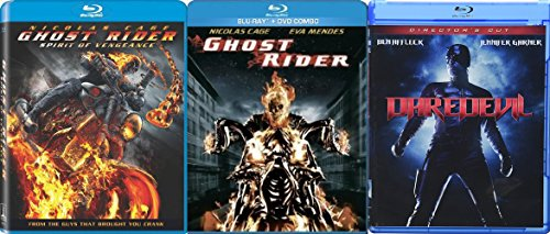 Marvel Collection Movie Pack Daredevil + Ghost Rider Movie Series Blu Ray / Ghost Rider Sequel Spirit of Vengeance with Exclusive Features Documentary Triple Feature Super Hero Series