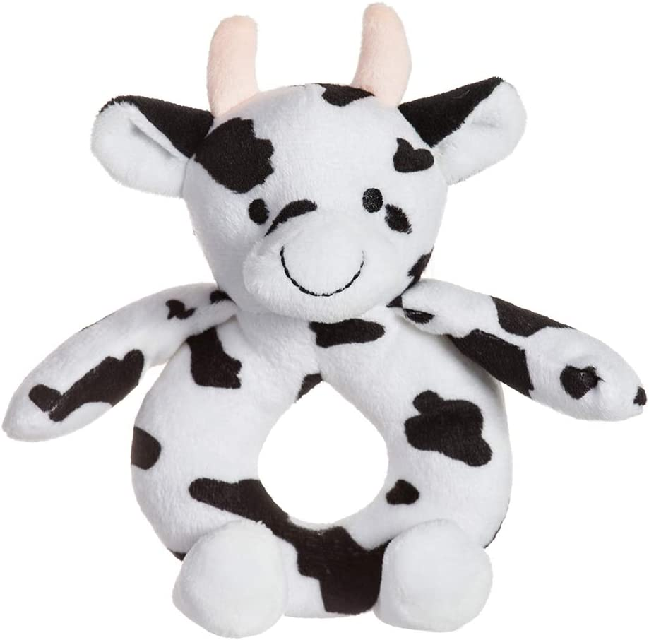 Apricot Lamb Baby Cow Soft Rattle Toy Cow, 6 Inches Plush Stuffed Animal for Newborn Soft Hand Grip Shaker Over 0 Months