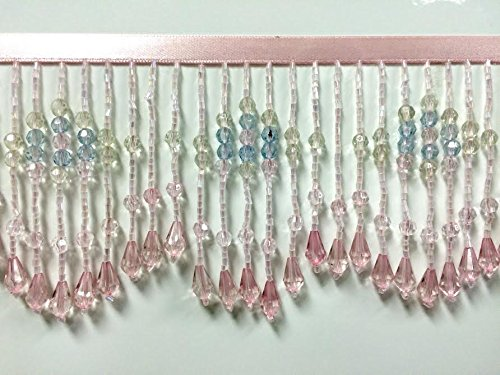 3.75 Crystal Beaded Fringe Trim CBF-22//18-53 Pink Multi