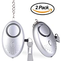Personal Alarm Keychain ASTUBIA 120dB SOS Emergency Self Defense Safety Alarm for Students/Women/Kids/Girls/Superior/Elderly Anti-Theft Anti-Attack (2-Pack, Silver)